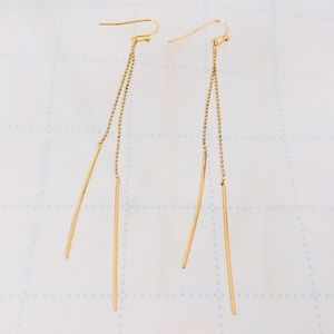 INC Gold-Tone twisted long threader earrings